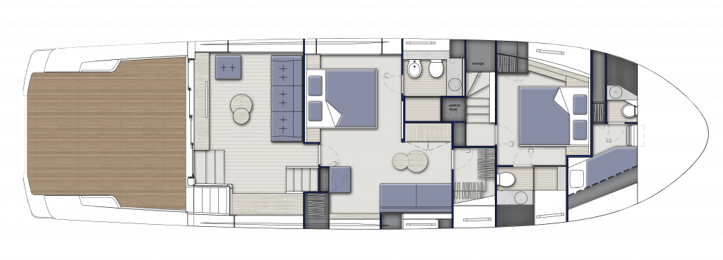 Lower Deck Standard, 2 cabins and 2 bathrooms
