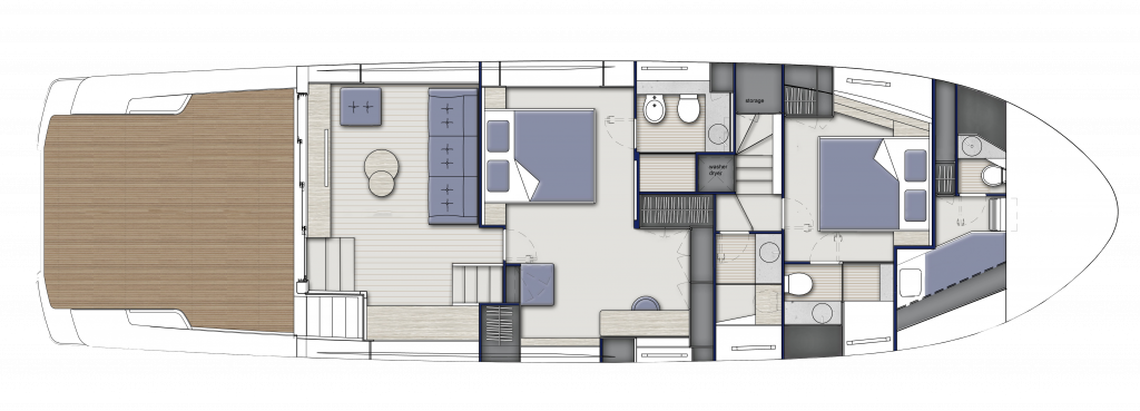 Lower Deck Standard, 2 cabins and 3 bathrooms