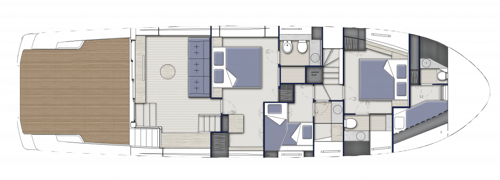 Lower Deck Standard, 3 cabins and 3 bathrooms