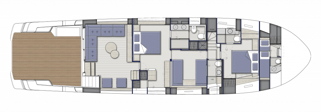 Lower Deck A with twin beds configuration